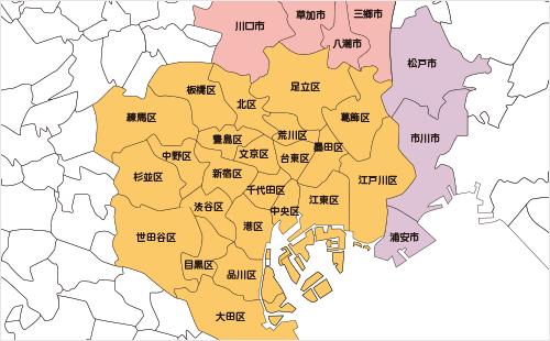 東京、埼玉、千葉、神奈川エリアマップ