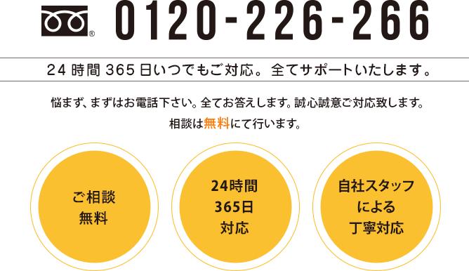 TEL 0120-226-266 24時間365日いつでもご対応。全てサポートいたします。